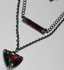 NWT Guess Black Metal Aurora Stone & Purple Insert Layered Necklace
