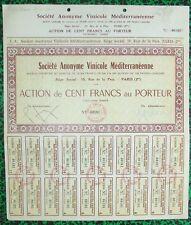 Paris II ème 19 Rue de la Paix - Très Rare Action S.A. Vinicole Méditerranéenne