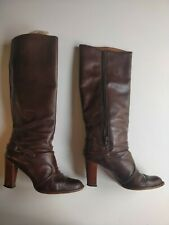 Vintage 1970's Knee High Brown Leather Boots. Size 6.5.