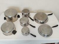 Revere Ware 7 Pc Disc Bottom LOT/SET Sauce Pans Skillets Stock Pot -NO LIDS READ
