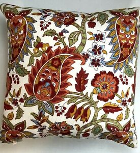 Pottery Barn Indoor/Outdoor Pillow Block Print Paisley Red Orange Green 18x18