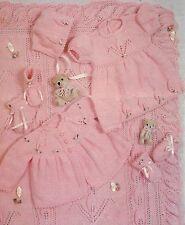 "Baby Shawl Coat Dress Bonnet Mitts Pram Cover DK Knitting Pattern 16-22"" 665"