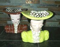 "2 Vintage Betty Lou Nichols Style Lady Head Vases 6"""