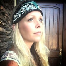 Leather cowgirl headband - brown with studs