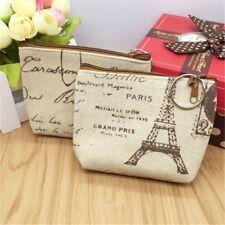 Women's Coin Key Holder Case Small Retro Canvas Purse Mini Bag Zip Wallet