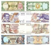 Ecuador 1000 + 5000 + 10000 + 20000 Sucres Set of 4 Banknotes 4 PCS UNC