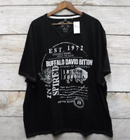 Buffalo David Bitton Shirt Mens 3XL Black Graphic Split V-Neck T Shirt New