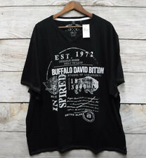 Buffalo David Bitton Mens 3xl Black Graphic Split V-neck T Shirt