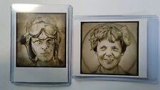 Amelia Earhart sketch card prints set two Wright brothers historic art drawing