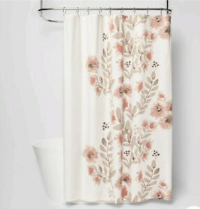 """New Threshold Coral Blooms Floral Shower Curtain  72"""" x 72"""""""