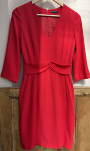 Women's Smart V Neck Red Fitted Pencil Dress 3/4 Sleeves By Jaeger size 8uk