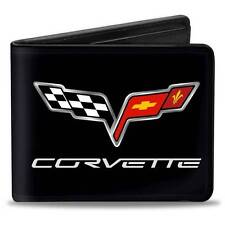 Men Wallet Bifold Black Chevy Chevrolet Corvette C6 Logo Trucker Genuine