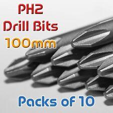 100mm PH2 Phillips Head - IMPACT TOUGH Screwdriver Drill Bit Hex Shank Magnetic