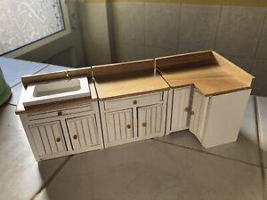 Dolls House White Shaker Kitchen Set- Three Pieces Sink Corner Unit Etc 1.12