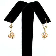 14k Gold 7mm Ball Drop Dangle Leverback Earrings Yellow Gold