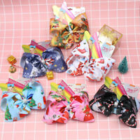 Hair Accessories 7 Inch Jojo Siwa Hair Bows for Christmas Girls Print Hairgrips