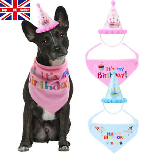 Pet Dog Cat Happy Birthday Hat Headwear Bandana Neckerchief Ties Bib Party Dress