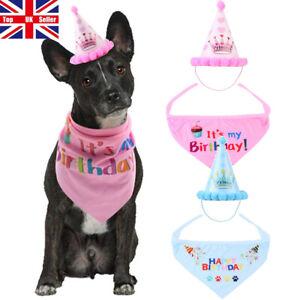 Pet Dog Cat Happy Birthday Hat Headwear Bandana Neckerchief Ties Bib Party Dress
