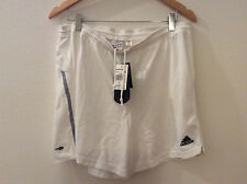 Adidas Women's Espacio White With Gray Side Stripes Shorts,L  (10B10-7605)