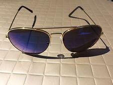 BLUE Mirror Lens Aviator Sunglasses Limited  Edition Women Gold Frame Retro Hot