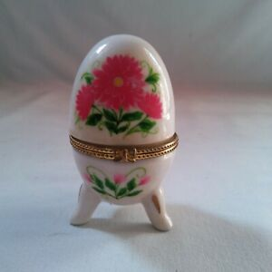 Porcelain Footed Egg Trinket Box with Hinged Lid with Small Pink Floral Pattern