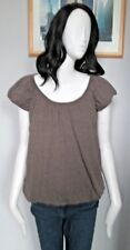 NEW LOOK - BROWN 100% POLYESTER SHORT SLEEVED LINED C/NECK T-Shirt Size 8