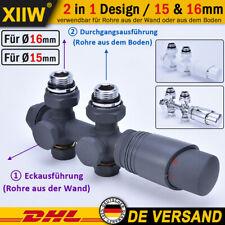 Multiblock Heizkörper Hahnblock Ventil Anschlussarmatur Thermotstat Rohr 15/16mm