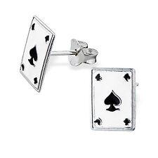 Childrens Ladies Sterling Silver Black Spades Playing Card Ear Studs Earrings