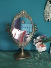 Stunning Victorian Brass Dressing Table Mirror Shabby Chic Antique