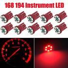 10x T10 Wedge Red Speedometer Instrument Gauge Cluster LED Light Bulbs 158 194