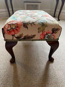 antique/vintage wooden upholstered footstool
