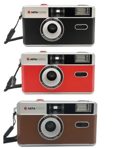 AGFA 35mm Film Reusable Compact Camera Colour B&W inc. Case - OFFICIAL UK STOCK