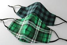 St Patrick Valentines Day Plaid Tartan Fabric Adjustable Face Mask Nose Wire