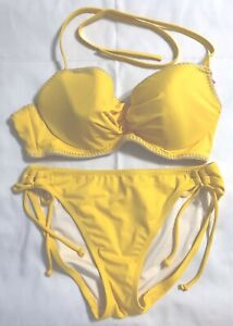 NWOT Victoria's Secret Swimsuit Size L Bottom Top 36C Solid Yellow 2 Pc Bikini