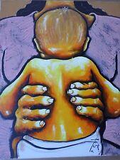 Juan COOK ( 1948-Chili) -Tableau-huile-Maternité-Enfant-HST-signée-2007-oil