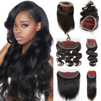 Pre Plucked Frontal Lace Closure Virgin Human Hair Straight Curly Deep Body Wave