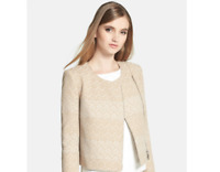 1.STATE Womens Medium Asymmetrical Zip Chevron Bouclé Jacket Collarless NEW