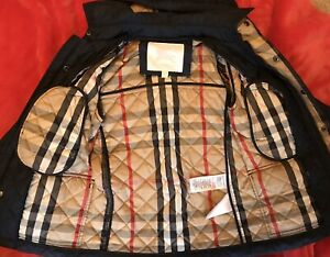 Burberry Quilted  Boys Coat,Removable Hood, Navy Size 7