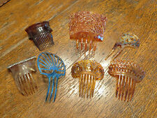 ANTIQUE LOT OF 7 EARLY HAIR COMBS FAUX TORTOISE SHELL RHINESTONES BEAUTIFUL!