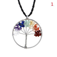 1 Pc Crystal Quartz Natural Gemstone Healing Tree of Life Pendant Necklace Chain