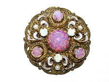 Antique 1890-1921 MANUS GERMANY Filigree & Pink Cabochon Stones Pin/Brooch