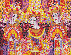 Hand painting Balinese Bali Fan Dance Abstract 233