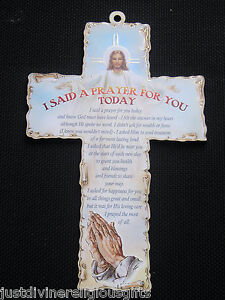 I Said A Prayer For You Wooden Cross  Wood Crucifix Religious Gift Christian