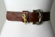 Vintage 80s/90s Italy Gorgeous Leather Western Belt Rope Indian Arrows M