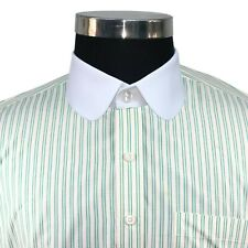 Peaky Blinders style Club collar shirt Green Yellow Stripes Penny collar Round