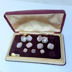 Vintage Swank MOP Gold Plate Cufflink Studs Evening Tuxedo Set 9Pcs w/ Box