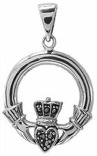 MARCASITE CLADDAGH HEART PENDANT 925 Sterling SILVER 23mm Diameter : Celtic