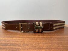 Vintage 80s Izod LACOSTE Coffee Brown Stripe Canvas Leather Surcingle Belt 35 36