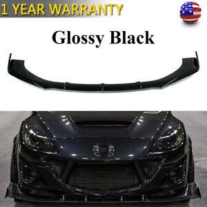 Gloss Black Front Bumper Lip Spoiler Splitters For Mazda 2 3 5 6 CX-3 CX-4 CX-5