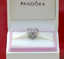 AUTHENTIC PANDORA CHARM  FEBRUARY SIGNATURE HEART AMETHYST #791784SAM